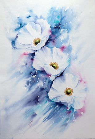Ethereal In Blue by Nisha Sehjpal, Impressionism Painting, Watercolor on Paper,
