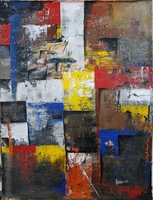 UNTITLED ABSTRACT by Aparna Bhatnagar, Abstract Painting, Acrylic on Canvas,