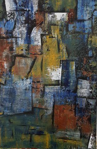 BROKEN WOOD by Aparna Bhatnagar, Abstract Painting, Acrylic on Canvas,
