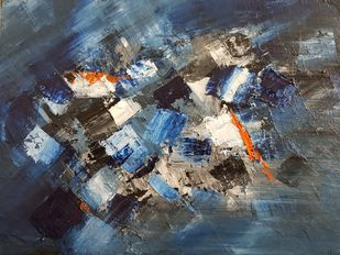 STORM by Aparna Bhatnagar, Abstract Painting, Acrylic on Canvas,