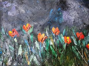 TULIPS IN THE DARK by Aparna Bhatnagar, Expressionism Painting, Acrylic on Canvas,
