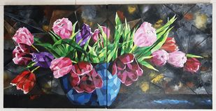 TULIP TOWN ON SPLIT CANVAS by Aparna Bhatnagar, Expressionism Painting, Acrylic on Canvas, Clam Shell color
