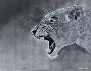 Resident Queen by Shailendra Khadkikar, Illustration Drawing, Charcoal on Canvas,