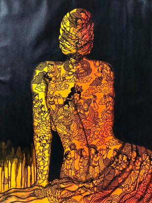 Krishna Leela by Mrinal Dutt, Traditional Painting, Acrylic on Canvas, Fire Bush color