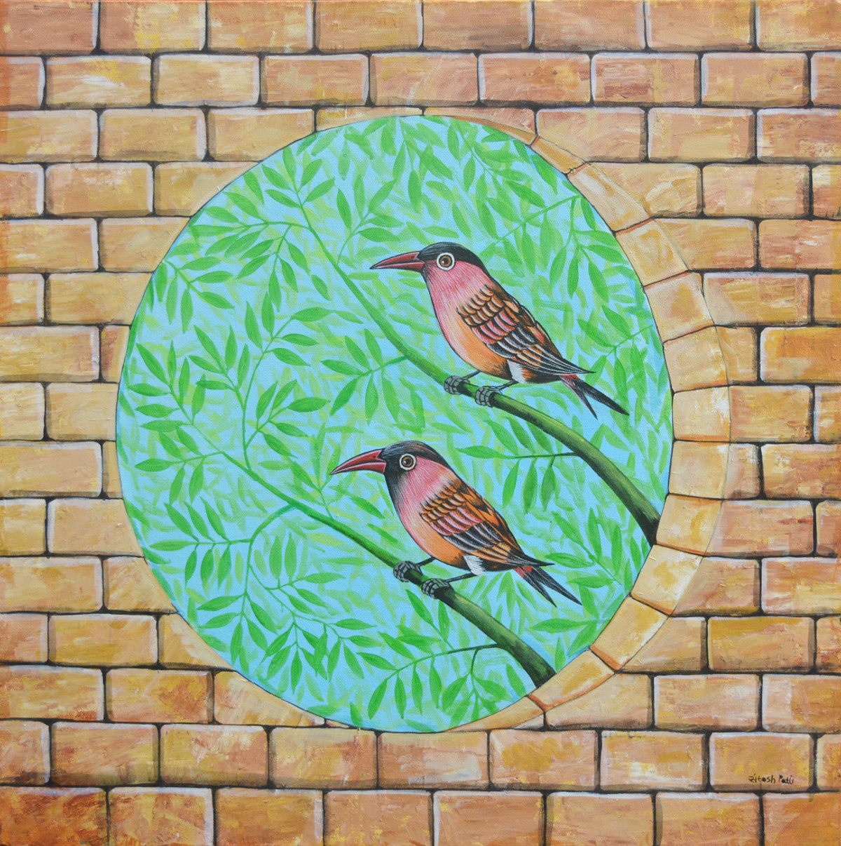 Birds 1010 by santosh patil, Decorative Painting, Acrylic on Canvas, Mongoose color