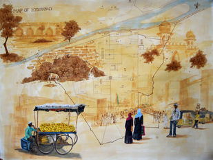 Glimpse of Hyderabad-1 by Debabrata Biswas, Expressionism Painting, Mixed Media on Paper, Indian Khaki color