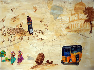 Glimpse of Hyderabad-II by Debabrata Biswas, Expressionism Painting, Mixed Media on Paper, Pavlova color