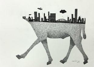 Untitled by Rutvik Mehta, Illustration Drawing, Ink on Paper, Lunar Green color