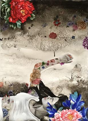 Untitled by Swayamprabha Parida, Fantasy Painting, Mixed Media on Paper, Dune color