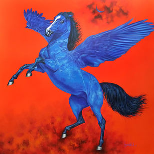 fly horse by sanket sawant, Impressionism Painting, Acrylic on Canvas, Cinnabar color