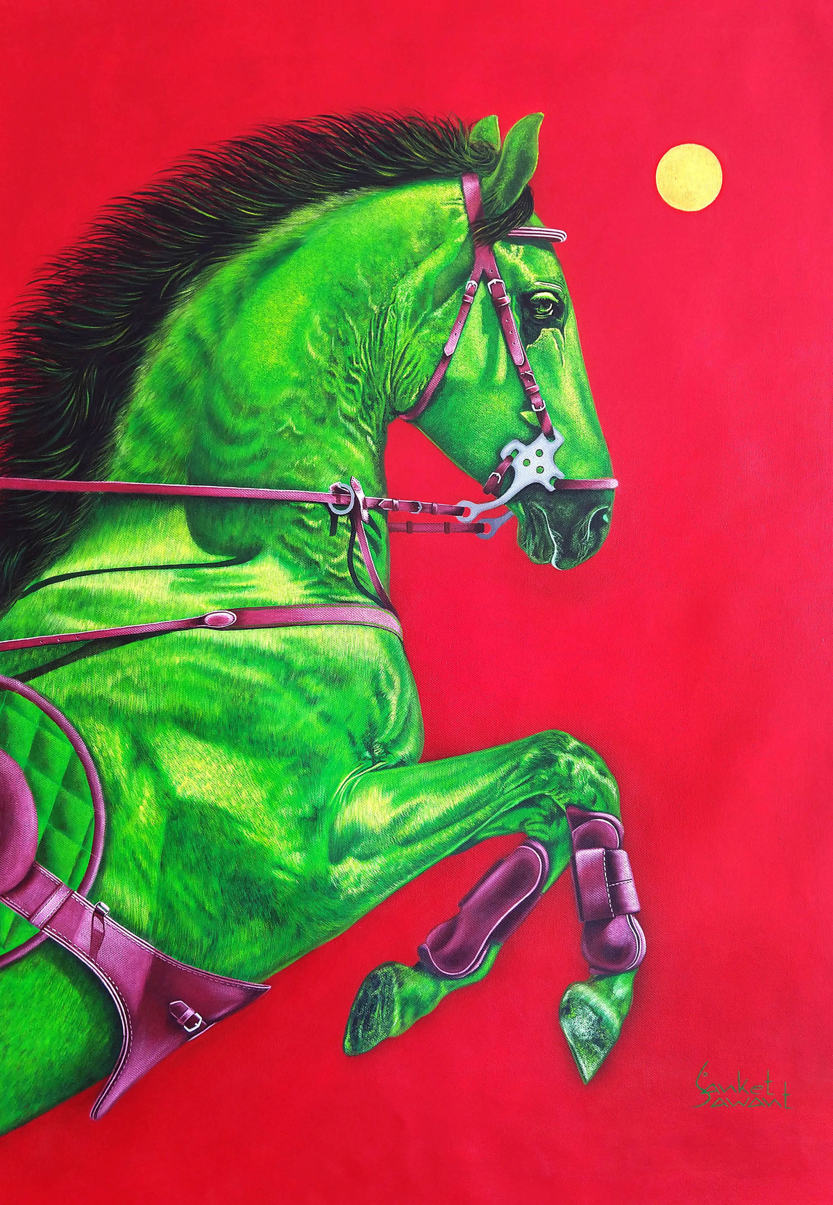 Unstoppable.... by sanket sawant, Expressionism Painting, Acrylic on Canvas, Alizarin Crimson color