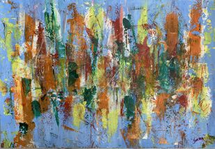 Daydream by Seema Kaushik, Abstract Painting, Acrylic on Paper, Zorba color