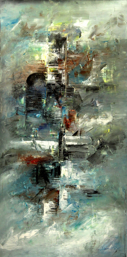 Untitled by Raju Durshettiwar, Abstract Painting, Acrylic on Canvas, Battleship Gray color