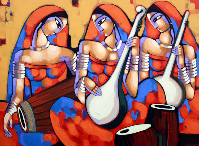 SYMPHONY 3 by Sekhar Roy, Decorative Painting, Acrylic on Canvas, Raw Sienna color