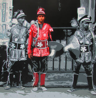 BAND 1 by Sujit Karmakar, Pop Art Painting, Acrylic on Canvas, Cold Turkey color