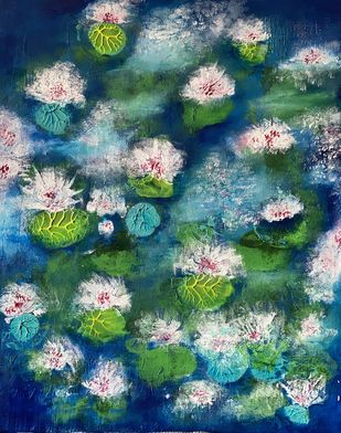 WATER LILIES AGAIN by Roopsi Jain, Expressionism Painting, Acrylic on Board, William color