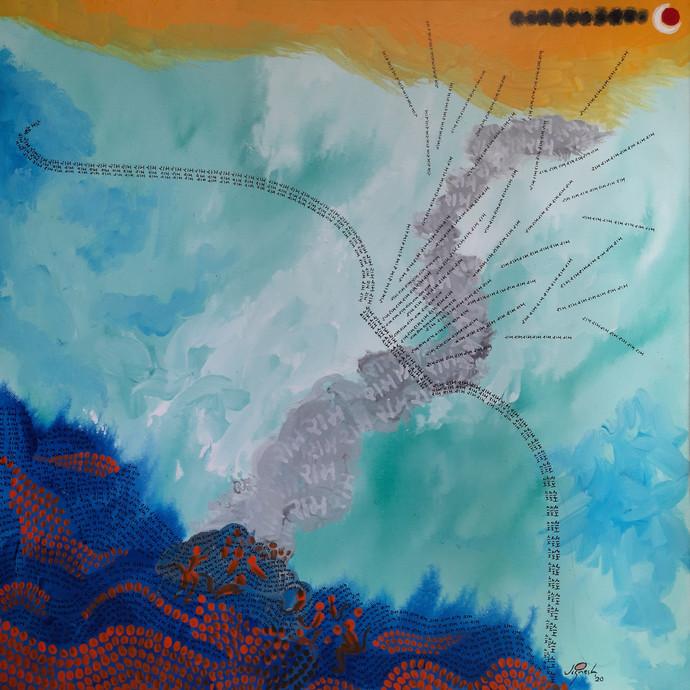 Ram Setu by Jignesh Jariwala, Abstract Painting, Acrylic on Canvas, Gulf Stream color