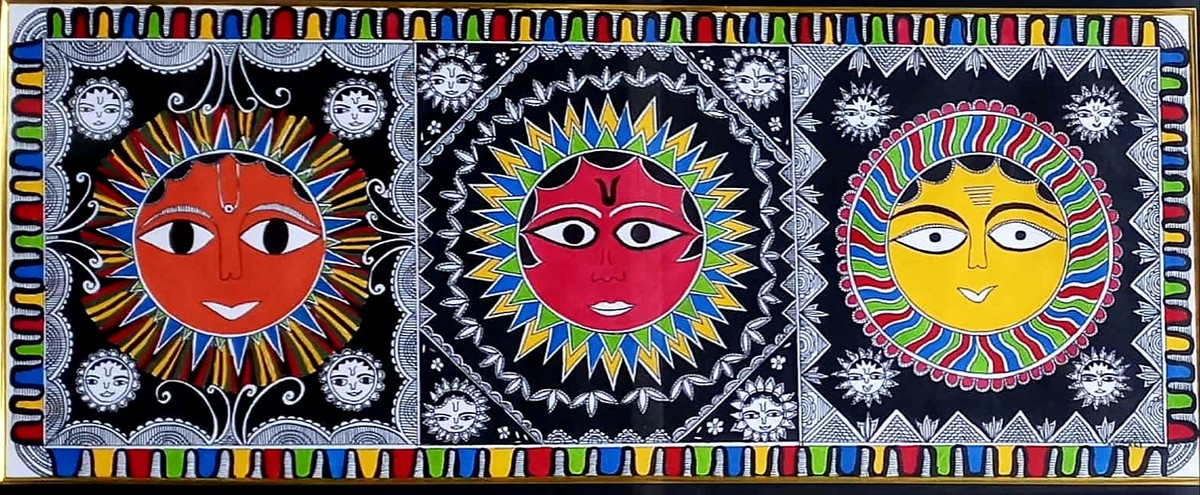 Madhubani painting of Sun by Anjali Sharma , Folk Painting, Acrylic & Ink on Paper, Baltic Sea color