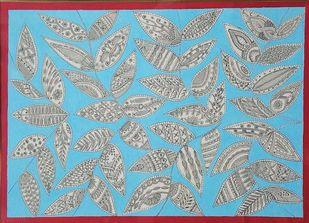 Madhubani painting - Leaves by Anjali Sharma , Folk Painting, Acrylic & Ink on Paper, Neptune color