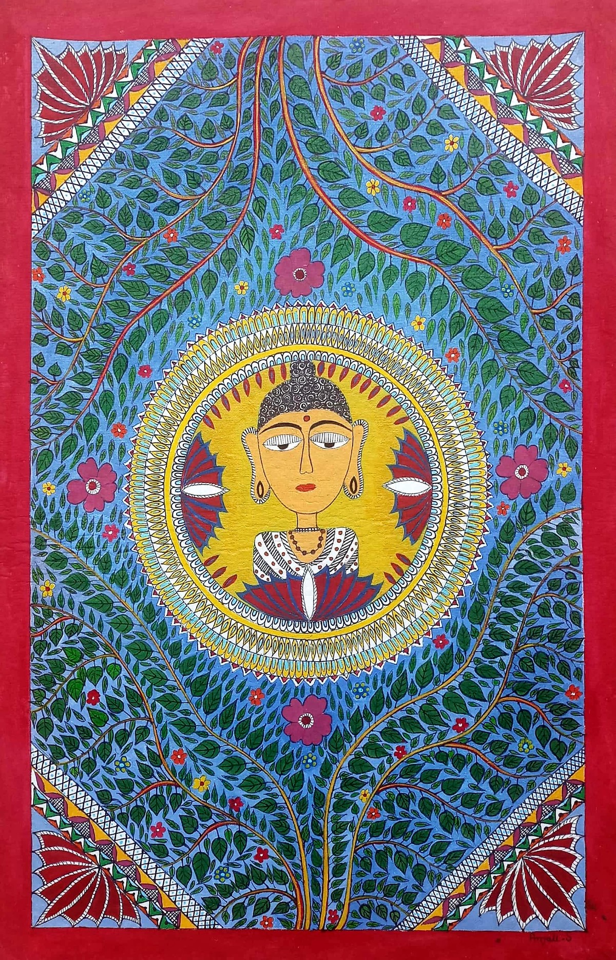 Madhubani painting -Buddha by Anjali Sharma , Folk Painting, Acrylic & Ink on Paper, Burning Sand color