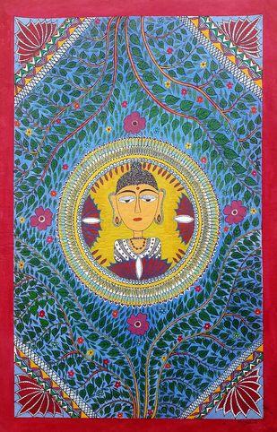 Madhubani painting -Buddha by Anjali Sharma , Folk Painting, Acrylic & Ink on Paper, Burning Sand color