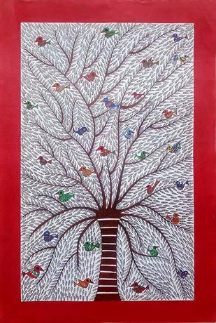 Madhubani painting - tree by Anjali Sharma , Folk Painting, Acrylic & Ink on Paper, Tamarillo color