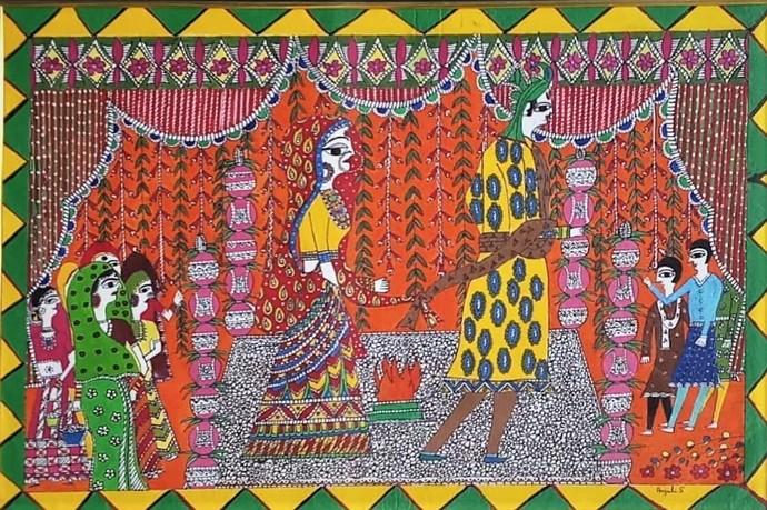 Madhubani Painting Wedding by Anjali Sharma , Folk Painting, Acrylic & Ink on Paper, Spicy Mix color