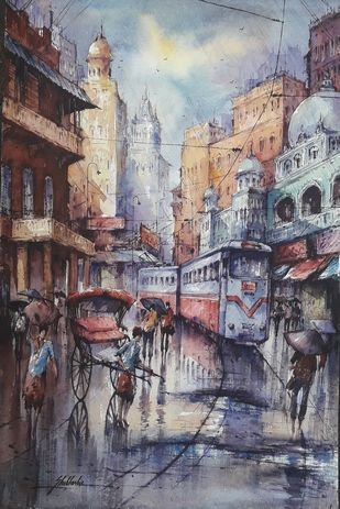 After the rain in kolkata-1 by Shubhashis Mandal, Impressionism Painting, Watercolor on Paper, Mamba color