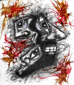 Man 1.0 by Hrishikesh Belgudri, Expressionism Drawing, Charcoal on Paper, Mine Shaft color