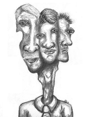 Aam Aadmi (Komman Man) . by Hrishikesh Belgudri, Illustration Drawing, Charcoal on Paper, Alto color