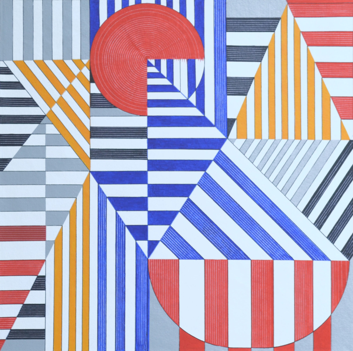 Space d - 13 by S K Sahni, Geometrical Painting, Acrylic on Canvas, Red color