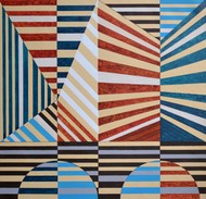 Space D - 16 by S K Sahni, Geometrical Painting, Acrylic on Canvas, Grey color