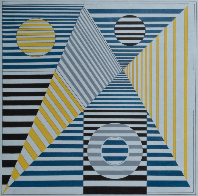 Space D - 14 by S K Sahni, Geometrical Painting, Acrylic on Canvas, Yellow color