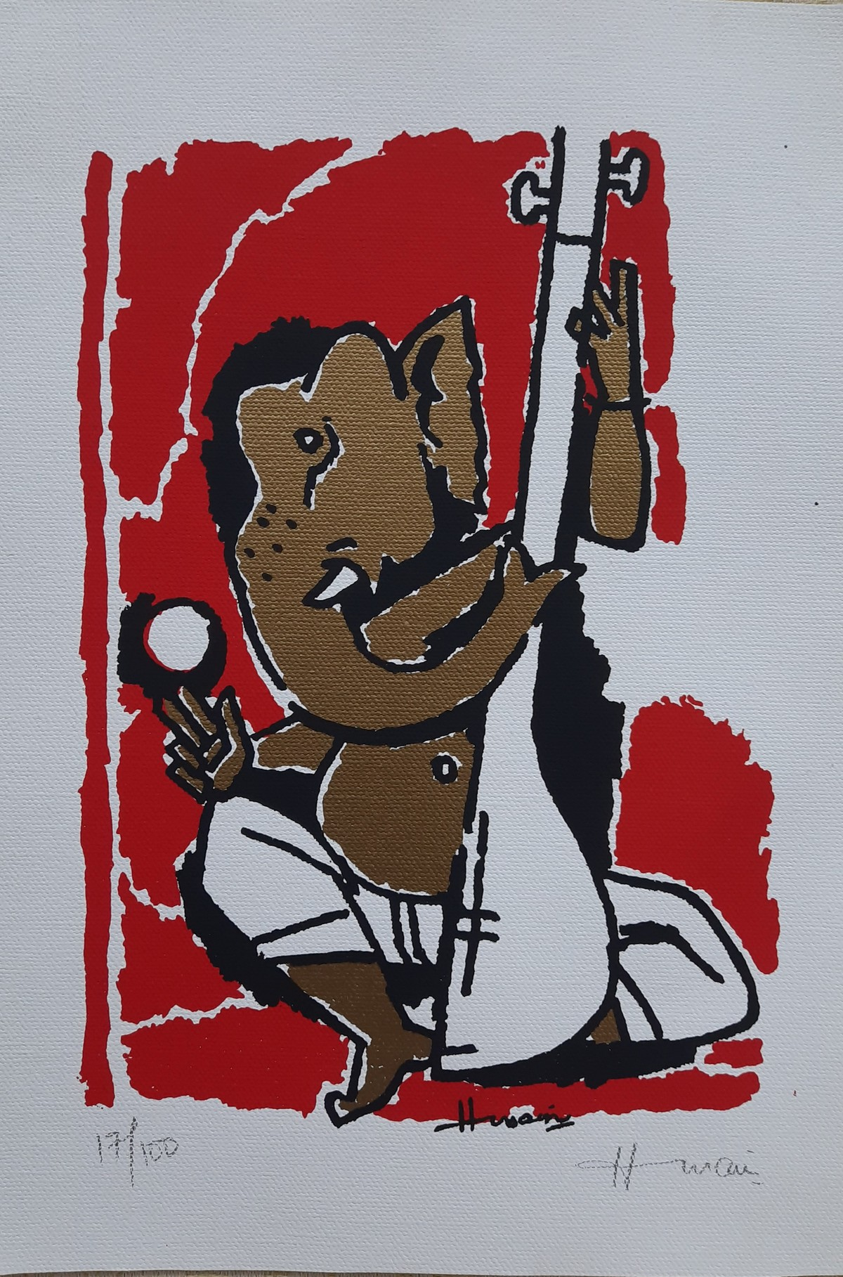 Ganesh by M F Husain, Expressionism Serigraph, Etching & Serigraph, Bombay color