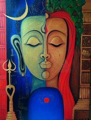 Ardhnarishwar-2 Digital Print by Vibha Singh,Traditional