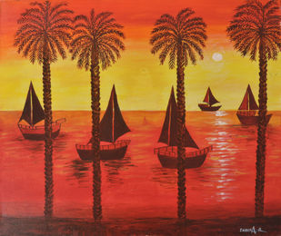 BOAT SCENERY by Indira, Expressionism Painting, Acrylic on Canvas, Red color