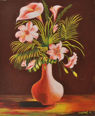 FLOWER VASE by Indira, Expressionism Painting, Acrylic on Canvas, Orange color