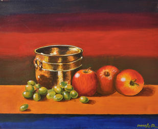 FRUITS AND BRASS BOWL by Indira, Fantasy Painting, Acrylic on Canvas,