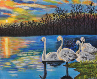 SWAN SCENERY by Indira, Expressionism Painting, Acrylic on Canvas, Green color