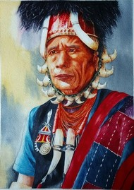 Native Colors by Cheryl Monis, Expressionism Painting, Watercolor on Paper, Tower Gray color