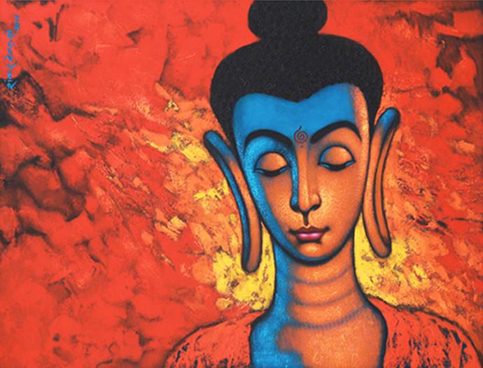 """BEAUTIFUL BUDDHA"" by SHANKAR DEVARUKHE, Expressionism Painting, Acrylic on Canvas, Oxford Blue color"