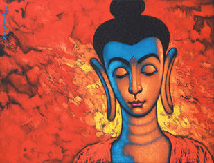 """BEAUTIFUL BUDDHA"" by SHANKAR DEVARUKHE, Expressionism Painting, Acrylic on Canvas, Oxford Blue color"