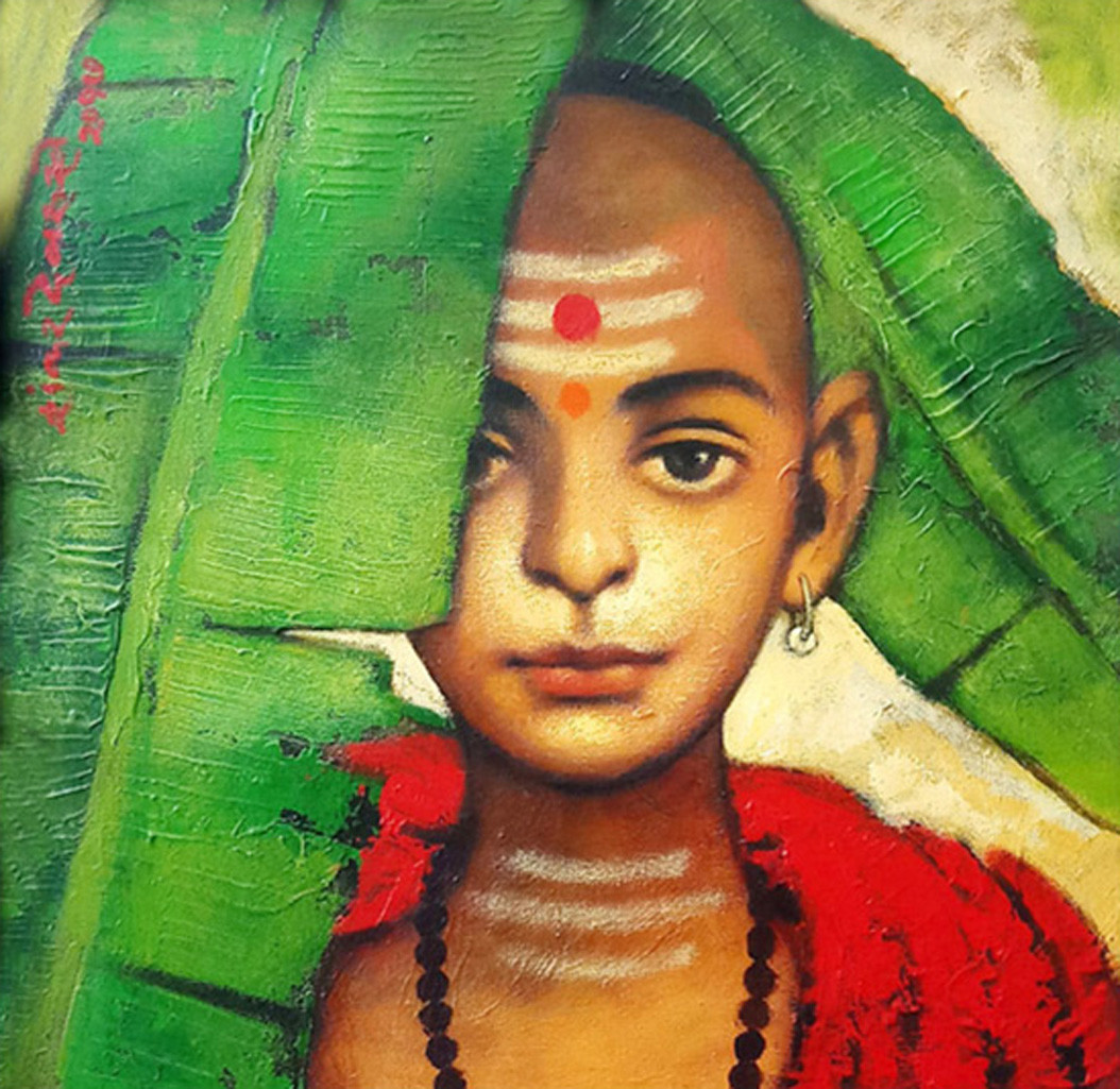""" BATU WITH BANANA LEAF"" by SHANKAR DEVARUKHE, Expressionism Painting, Acrylic on Canvas, Fern Green color"