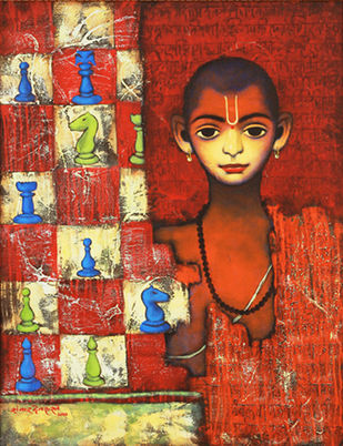 """BATU - BUDDHI"" by SHANKAR DEVARUKHE, Expressionism Painting, Acrylic on Canvas, Cumin color"