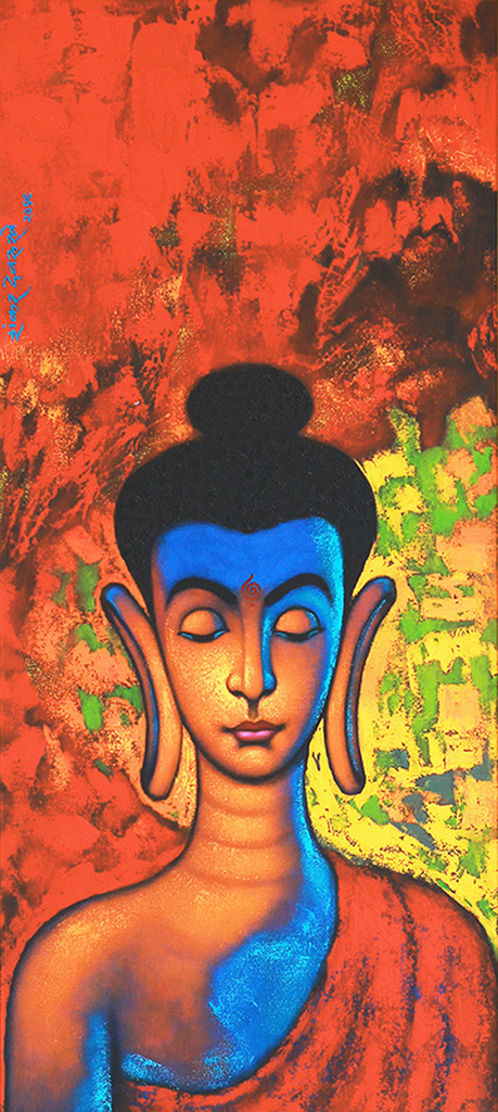 """BUDDHA_I"" by SHANKAR DEVARUKHE, Expressionism Painting, Acrylic on Canvas, San Juan color"