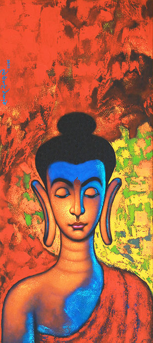 """BUDDHA_I"" by SHANKAR DEVARUKHE, Expressionism Painting, Acrylic on Canvas, San Juan color"