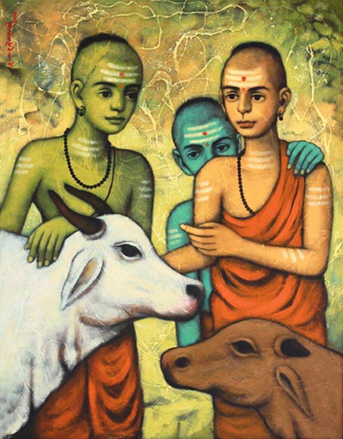 """GOSHALA"" by SHANKAR DEVARUKHE, Expressionism Painting, Acrylic on Canvas, Driftwood color"
