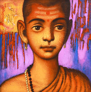 """BATU"" by SHANKAR DEVARUKHE, Expressionism Painting, Acrylic on Canvas, Lavender color"