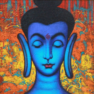 """BUDDHA"" by SHANKAR DEVARUKHE, Traditional Painting, Acrylic on Canvas, Rock color"