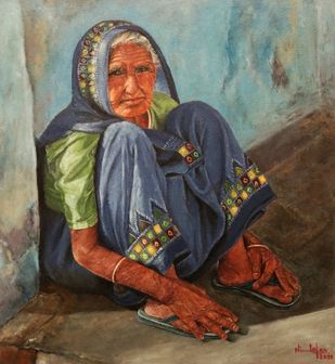 Grandma in a sunny day by Nilofar Ansari, Expressionism Painting, Oil on Canvas, Taupe color